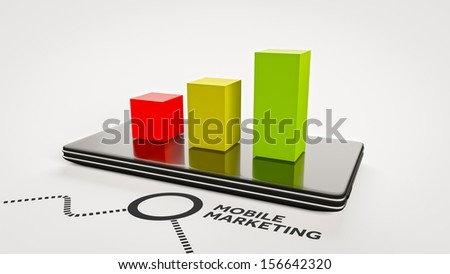 Concept of mobile marketing for smart phones - stock photo
