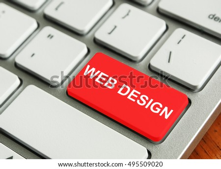 concept of Modern Keyboard. Metallic Keyboard with the words WEB DESIGN