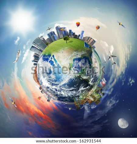 Concept of modern world with skyscraper, airplane and elements of the contemporary world. World provided by Nasa - stock photo