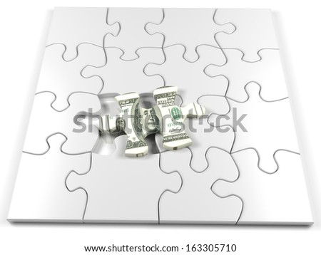 Concept of money with a hundred dollar jigsaw piece - stock photo