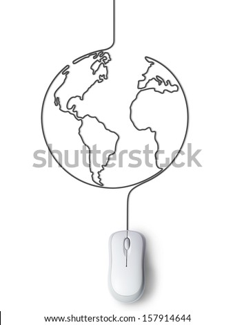 Concept of mouse connected with the world - stock photo