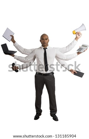 Concept of multitasking businessman on white background - stock photo