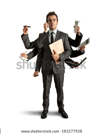 Concept of multitasking with businessman who carries out various operations - stock photo