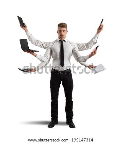 Concept of multitasking with busy businessman at work - stock photo