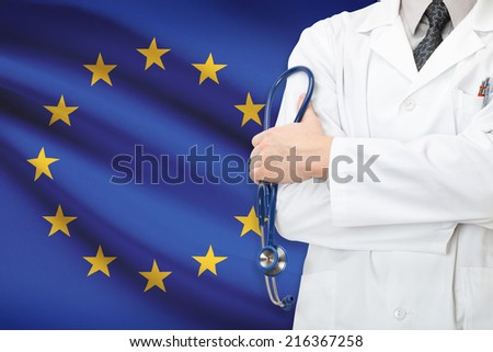 Concept of national healthcare system - EU - European Union - stock photo