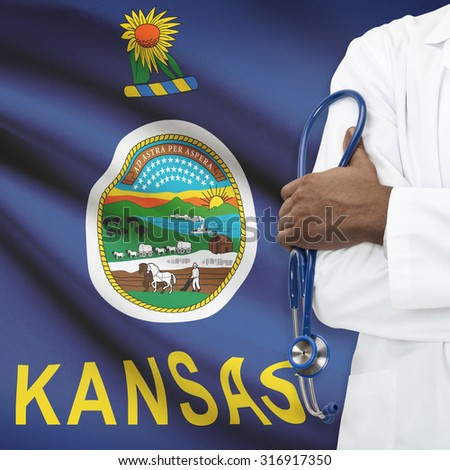 Concept of national healthcare system series - Kansas - stock photo