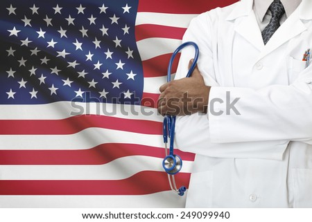 Concept of national healthcare system - United States - stock photo