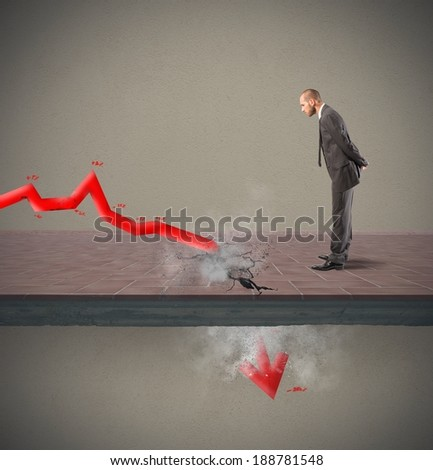 Concept of negative statistic due to crisis - stock photo