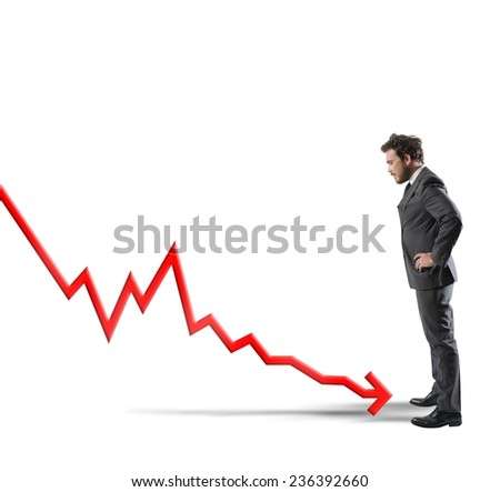 Concept of negative statistics due to crisis - stock photo