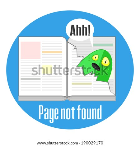 Concept of not found error message with book and torn page - stock photo