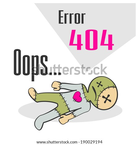 Concept of not found error message with cartoon voodoo doll - stock photo