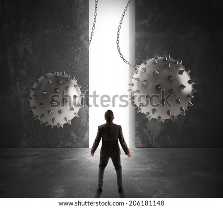 Concept of obstacle and trap on the way of a businessman - stock photo