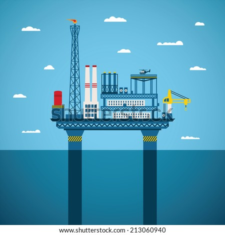 Concept of oil and gas offshore industry with stationary platform - stock photo