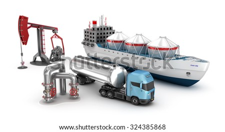 Concept of oil extraction and refining, isolated on white - stock photo