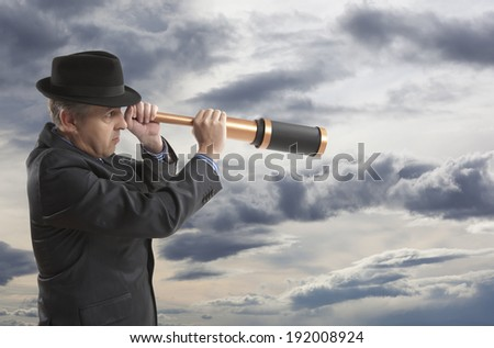 Concept of one businessman that look for the future - stock photo