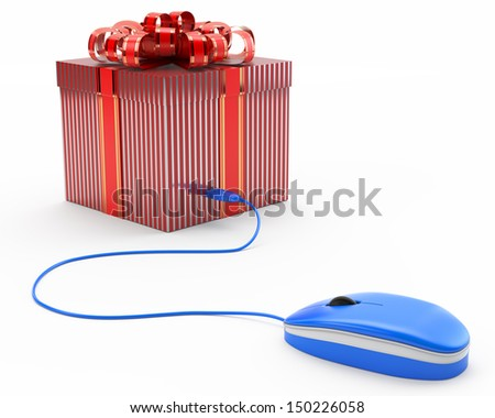 concept of online gift, giftbox connected with a computer mouse - stock photo