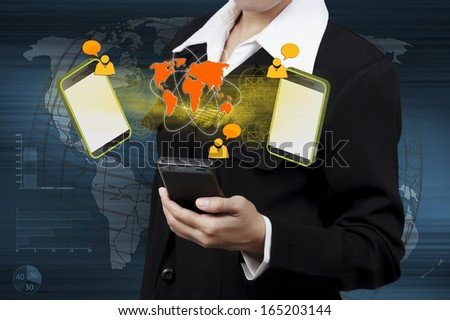 Concept of online transactions on the internet in business in hand. - stock photo