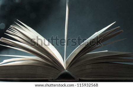 Concept of open book with blue bokeh - stock photo