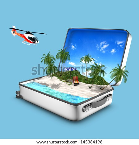 Concept of opened suitcase that contains a paradise beach with sea, sand, grass, lounger, helicopter