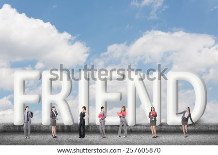 Concept of partner, friends,collaborate with group of business people stand with 3d text.  - stock photo
