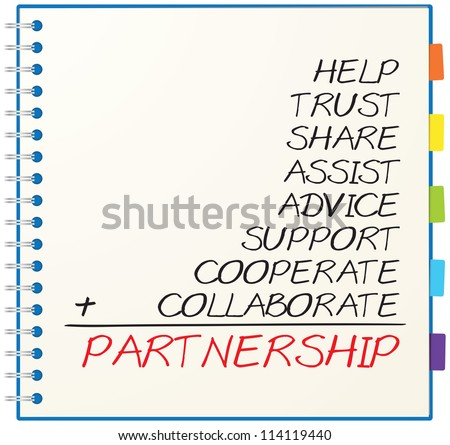 Concept of partnership consists of help, share, trust, assist, advice, support, cooperate and collaborate - stock photo