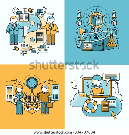 Concept of partnership recruitment and production support. People on work flow process, organization job, strategy and team professional, growth and management illustration. Raster version - stock photo