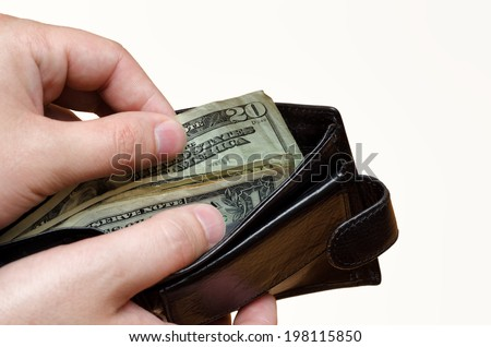 Concept of payment take money from the wallet  - stock photo
