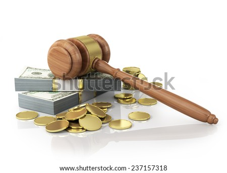 Concept of penalty. Wooden gavel and dollars with coins on the white background. - stock photo