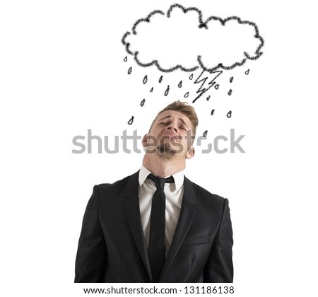 Concept of pessimist businessman for the crisis