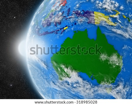 Concept of planet Earth as seen from space but with political borders aimed at Australian continent