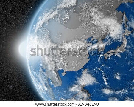 Concept of planet Earth as seen from space but with political borders aimed at east Asia region