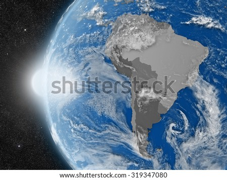Concept of planet Earth as seen from space but with political borders aimed at south american continent