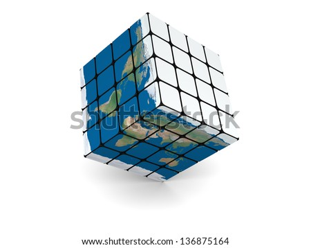 Concept of planet Earth made of cubes, isolated on white background. Elements of this image furnished by NASA.