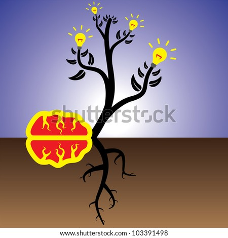 Concept of plant of brain generating ideas and solutions - stock photo