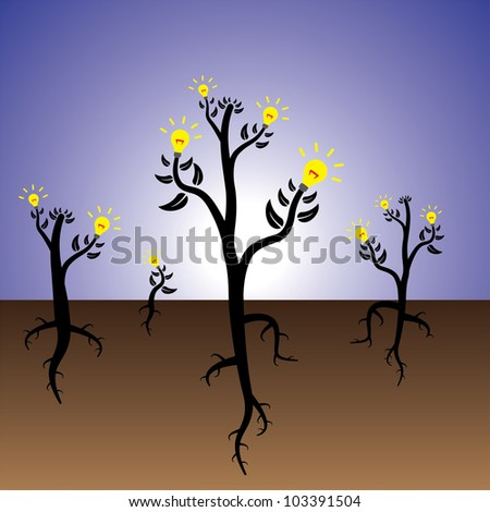 Concept of plants of ideas and solution growing in fertile mind. - stock photo