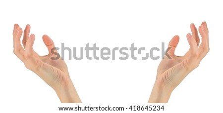 Concept of prayer and religion. Two hands praying. Isolated on white background