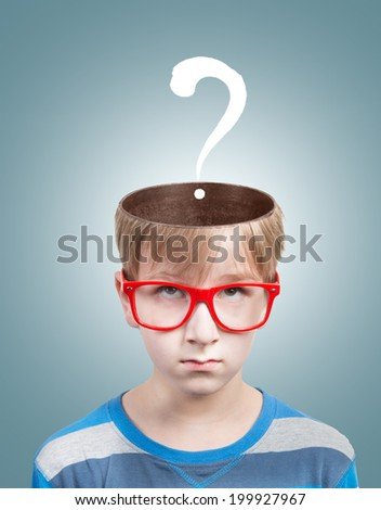 Concept of preteen boy with a question mark under his opened head