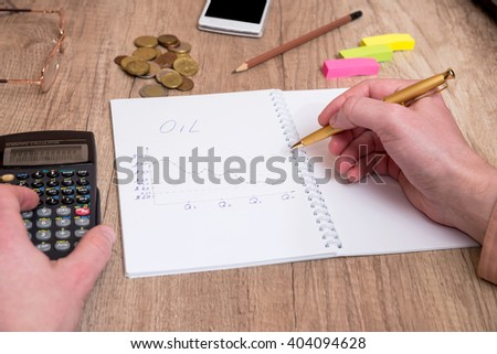 Concept of price decline for oil - stock photo