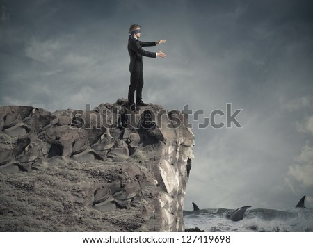Concept of problem and crisis in business - stock photo