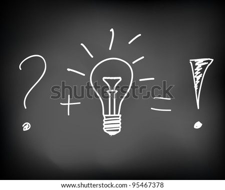 Concept of problem solving with a brilliant idea of incandescent light bulb drawn on black chalkboard