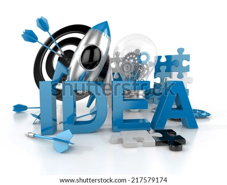 concept of process of IDEA. 3d illustration isolated - stock photo