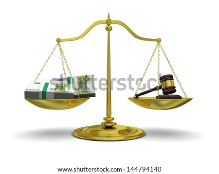 Concept of profits versus justice, with golden scale isolated on white background - stock photo