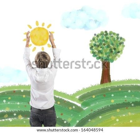 Concept of protect nature with child that holds the sun - stock photo