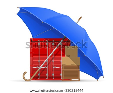 concept of protected  cargo umbrella illustration isolated on white background - stock photo