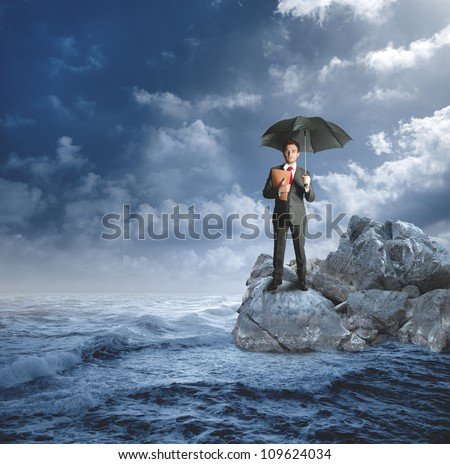 Concept of protection with agent on the rocks - stock photo