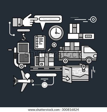 Concept of purchasing, delivery of product via internet. Thin, lines, outline icons black elements of delivery service. Transportation chain aviation, cars on black color background. Raster version - stock photo