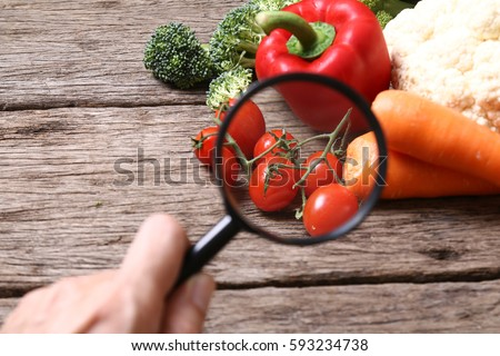 Concept of quality control on vegetables