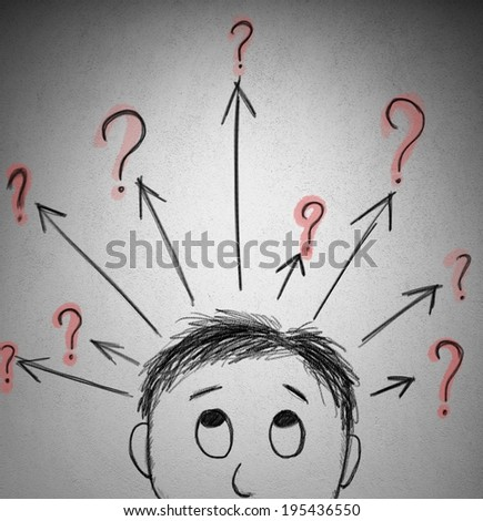 Concept of question with a sketch of a businessman - stock photo