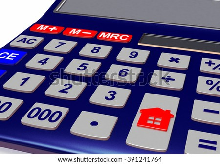 Concept of Real Estate. Calculator with House icon. - stock photo