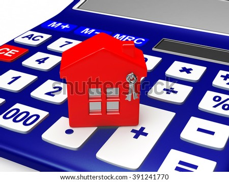 Concept of real estate. Model of house on a calculator isolated on white background - stock photo